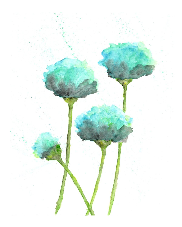 Flower art, flower print, blue, mint green, flower watercolor, watercolor flower painting, watercolor painting, watercolor poppies, 5X7