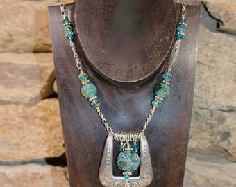Western Belt Buckle Necklace in Turquoise