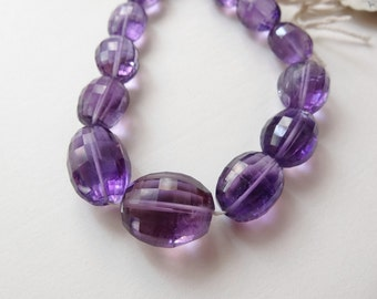 """Beautiful Deep color Purple Amethyst Checkerboard Faceted Ovals 18"""" strand N2434"""