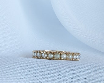Pearl Band Ring, Pearls Around Band Ring, 14K Yellow Gold Ring, June Birthstone, Wedding Ring, Wedding Band, Japan Cultured Pearls 2 mm