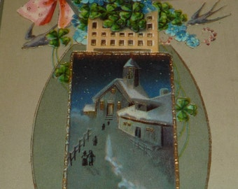 Lovely Antique New Years Postcard With Swallows, Lucky Clover and Forget-Me-Nots