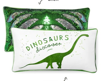 DISCOVERY Dinosaur Pillow W/ Reversible Green & Silver Sequins