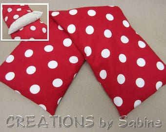 Heating Pack Washable Cover Microwaveable Corn Pillow Heat Therapy Cold Pack Red White Polka Dots 50s Rockabilly READY TO SHIP (532)