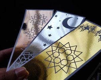 Set of 3 Metallic Foiled Geometric Bookmarks