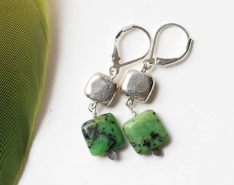 Squared Earrings - Sterling Silver and Stone