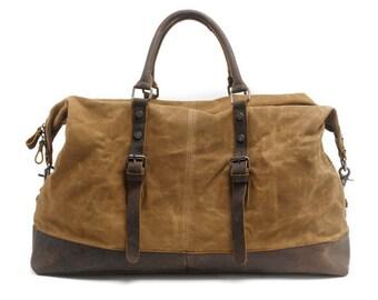 Leather Canvas Duffel Bag (Khaki)