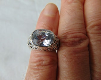 premier designs crystal ring size 6 filigree silver sparkling clear silver ring signed pd