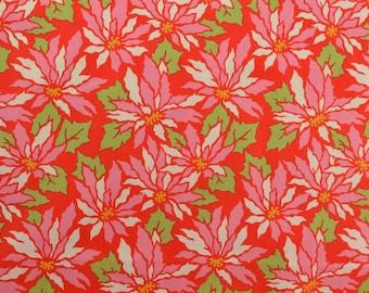 Christmas Quilting Fabric, Poinsettia Fabric, Pink Poinsettias, Red Fabric, Cotton Fabric, Christmas Fabric - 1 3/8 Yard - HCF2506