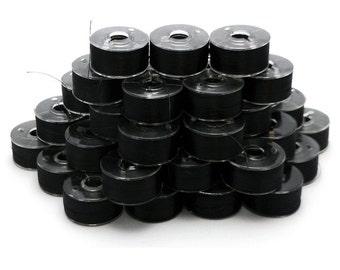 Prewound Bobbins Size A Black 10 20 50 144 Polyester Bobbin Filament Embroidery Machine Thread