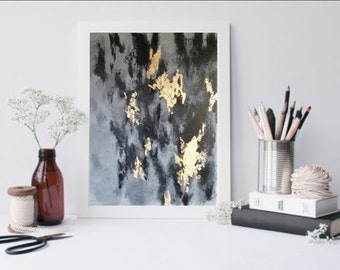 "Gray, Black and Gold Abstract Painting (16"" x 20"")"
