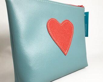 Make Up Bag - Blue with Red Glitter Heart Zipper Pouch