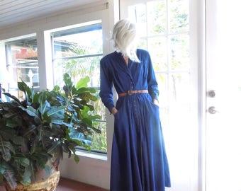 Vintage John Ranta Collection denim dress long sleeve full skirt shirt dress 1980's: small, medium