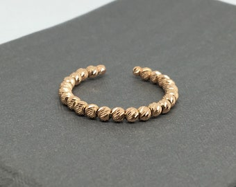 14K Rose Gold Diamond Cut Beads Stackable Ring /  Band