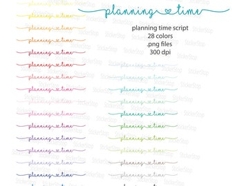 Planning Time Script Icon Digital Clipart in Rainbow Colors - Instant download PNG files