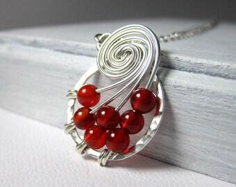 Blood Red Carnelian Jewelry Fibonacci Nautilus Necklace Math Jewelry STERLING SILVER Wire Wrapped Jewelry