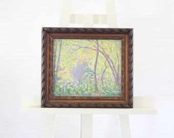 American Impressionist Painting Spring Sun Dappled Forest Oil Impressionism Original Framed