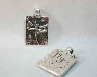 Silver Pewter Dragonfly Charm Small Pendant 21x13mm