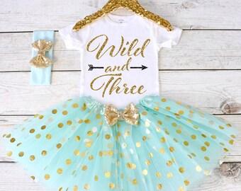 Wild and Three. CUSTOM AGE. Girls Birthday Outfit. Birthday Shirt. Birthday Tutu Outfit. Birthday Outfit Girl. 3rd birthday. S3 3BD (AQUA)