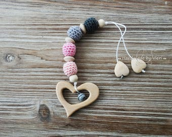 "Maxi Cosi pendant/Bite Necklace ""heart"", crochet"