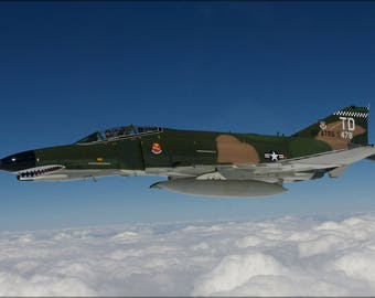 Poster, Many Sizes Available; F-4 Phantom Ii Aircraft Over The Atlantic Ocean