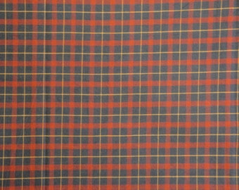 SALE SALE SALE Homespun Cotton Fabric | Navy And Red Plaid Fabric | Cotton Sewing Fabric | Home Decor Fabric | Americana Fabric