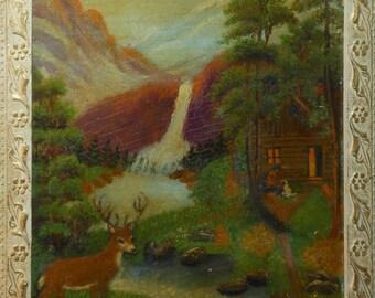 vintage naive folk oil painting deer cabin man feeding dog