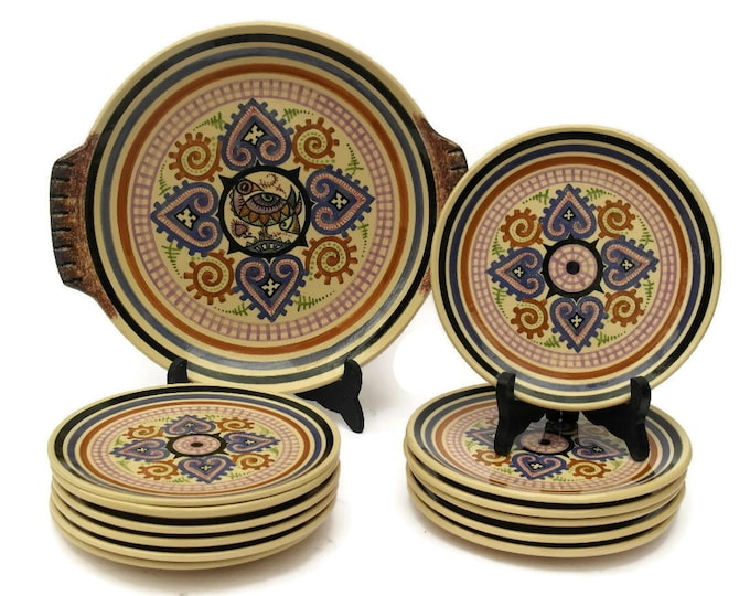 Paul Fouillen Quimper Plates and Platter Set. Vintage French Breton Faience Hand Painted Cake Service Set of 12 plates with Cake Platter.