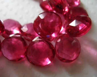 Pink QUARTZ HEART Briolettes, Tourmaline Pink / 2-20 pcs,  10-11.5 mm / Giant, October Birthstone, wholesale bead brides bridal hydqtz50 bsc