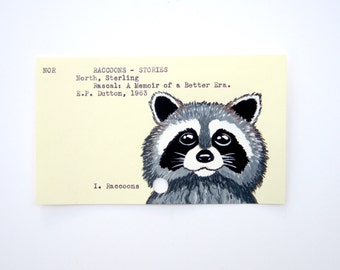 Raccoon Library Card Art - Print of My Painting of Rascal the Raccoon