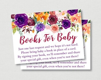 Purple & Burgundy Floral Book Request Cards / Floral Baby Shower / Fall Baby Shower / Autumn Floral / Books For Baby / INSTANT DOWNLOAD A456