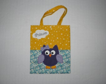 Bag child customizable, tote bag, owl, name embroidered in a cloud, yellow, blue, purple, kindergarten bag, library
