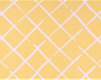 Cottage Chic Trellis Fabric in Yellow and White By The Yard