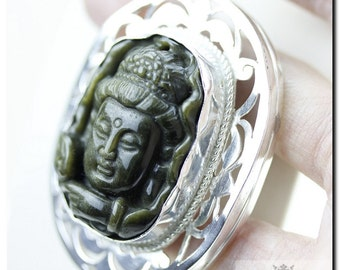 OBSIDIAN Carved Zen BUDDHA 925 Solid Sterling Silver Pendant + 4mm Snake Chain & FREE Worldwide Shipping P2050