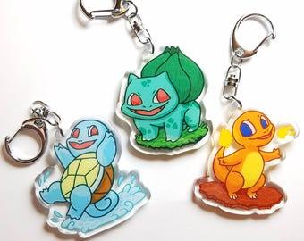 starter Pokemon acrylic keychain charms, kanto starters, bulbasaur squirtle bulbasaur charms, original pokemon keychain, pokemon charms