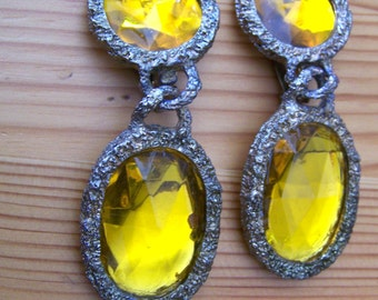 "Vintage 60""s  ""CLIP-ON DANGLES"" / Earrings with Chunky Yellow Topaz Style Stone"