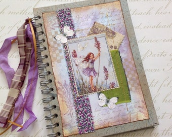 NOTEBOOK, journal, sketchbook . A5 .  ' Lavender Fairy' . OOAK . MIxed media . UK seller...Ready to ship......