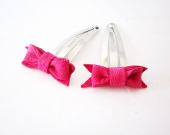 Hot pink hair bow clip, neon pink hair bow snap clip, baby hair bow, hot pink hairbow, pink leather bow, cute baby hair bow clip, set of two