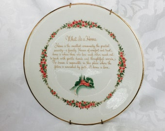 Vintage Rose Trellis Floral Wall Plate Hanging Decor with Quote on What is a Home