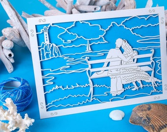 By the Sea Anniversary Card, Seaside Card, Holiday Memories, Valentines Card, laser cut card