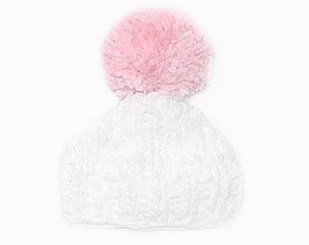Pink PomPom Baby Beanie // Adult beanie // baby shower // baby winter clothes // baby handmade knits // toddler beanie