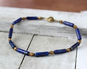 Mens Blue Bead Bracelet