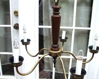 MID-CENTURY Modern Vintage Brass Sculpted 5 Light Walnut Wood Chandelier