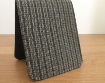 OhSoRetro Mens Wallet / Super Thin Billfold Wallet / Brown Herringbone Fabric / Vegan Wallet