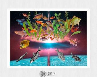 Poster 50x70 cm La multiplicación de los peces Instant download, Space collage, Sea life poster, Vintage, Pop surrealism, Whimsical art