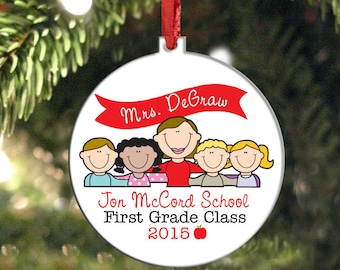 Teacher Ornament, Personalized Teacher Gift, Christmas Ornament, Holiday Ornament, Teacher Appreciation, Teacher and Students, Custom