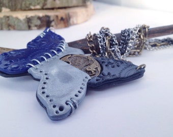 Steampunk statement necklace, blue and silver butterfly, christmas gift, stocking stuffer, handmade, unique, industrial look mixed metals