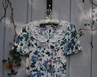 1980s floral midi dress lace peterpan collar