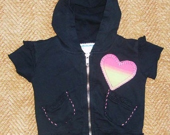 LITTLE HEART Black Baby Short Sleeve Hoodie 3-6 month • Appliqué & Hand Stitching • Cotton French Terry • OOAK