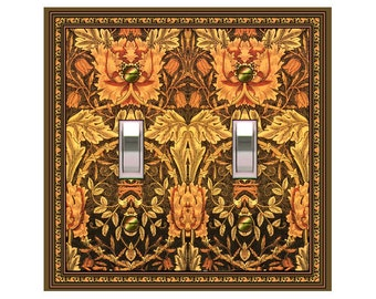 0782B - Art Nouveau Morris Tangerine Bkgd - mrs butler switch plate covers - - mix/match with 0782a