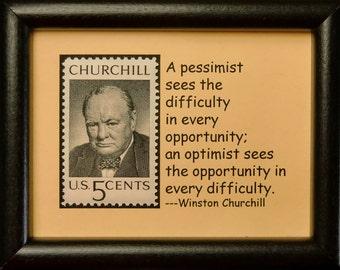 Winston Churchill USA -Framed Postage Stamp Art 0362W